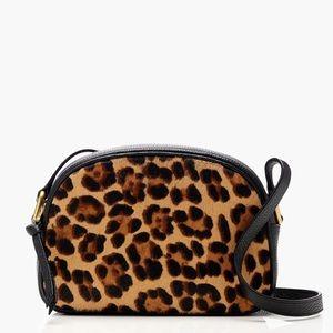 J crew Devon camera bag leather leopard calf fur